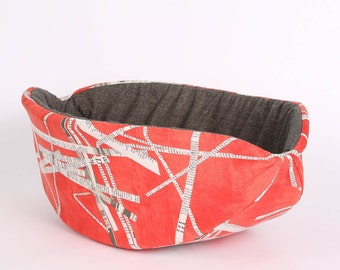 Tomato Red and Newspaper Cat Canoe an OOAK Modern Open Bed for Cats
