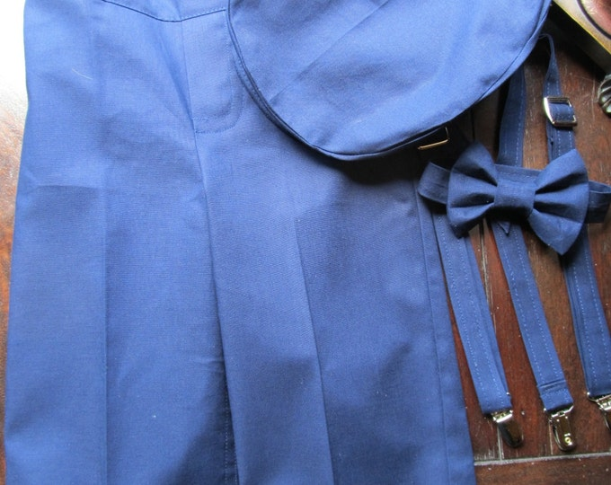 Cotton Ring Bearer Outfit; Ring Bearer Bow Tie, Ring Bearer Suspenders, and Pants. Handmade in the USA by TwoLCreations