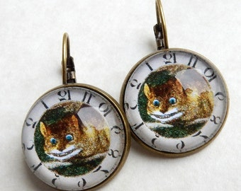 Cheshire Cat Earrings, Cheshire Cat Jewelry, Alice in Wonderland Jewelry, We Are All Mad Here