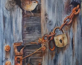 Original watercolor , Safe Haven, wren and old barn