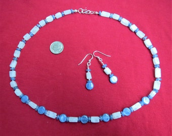 Ice Blue Kyanite and Rainbow Moonstone Necklace Earring Set