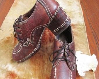 70's Vintage Hippie Boho Italian Leather Platform Shoes NOS  sz 8