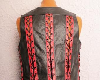 Vintage Men's Black Leather Red Lacing Goth Biker Vest med/lg