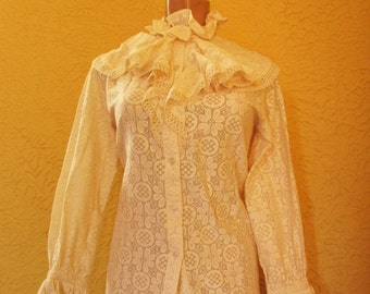 70's Vintage Victorian All Lace Blouse Med/Lg