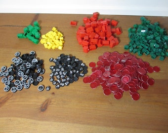 Large Lot of Monopoly & Bingo Plastic Game Pieces, Hotels, Houses, Bingo Tokens, Jewelry, Altered Art, Crafts, Supplies