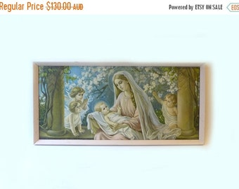 ON SALE Vintage large mid century modern religious art litho print Flower Madonna, 1950s Giovanni lithograph baby jesus