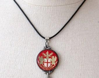 ON SALE Vintage  London coat of arms buddah metal enamel pendant