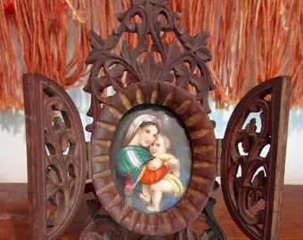 Antique Carved Wood Reliquary with Hand Painted Porcelain Easel Picture