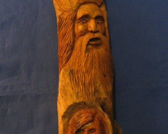 facial expressions in driftwood man and woman wall hanging or shelf sitter