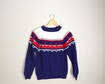 July SALE - 15% Off - Vintage 70s Navy Blue White Red Fair Isle Ski Sweater // unisex small
