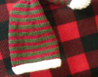 Newborn Knitted Elf Stocking Hat knitted hat Christmas hat photo prop READY to SHIP