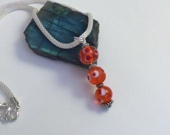 Orange Murano glass pendant,silver snake chaine, beautiful Venetian glass pendant with silver chain, pandora style necklace,lucky 3 beads
