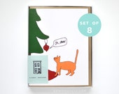 Funny Christmas Card Set - Mature Set of Christmas Card - Cat Christmas Card - Cat Card