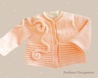 Hand knitted baby sweater, baby sweater in light peach color, baby cardigan,girl sweater, baby knitting,baby clothes, CUSTOM