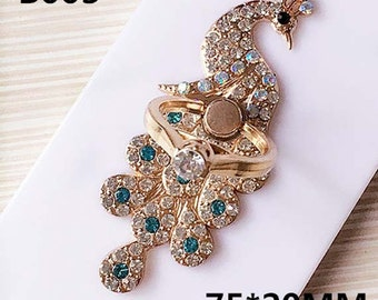 1pc colorful rhinestones/gems peacock alloy ring holder charms 75x20mm flatback mix colors