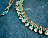 sundancer tribal shield necklace/ boho necklace/ gold tan and turquoise necklace