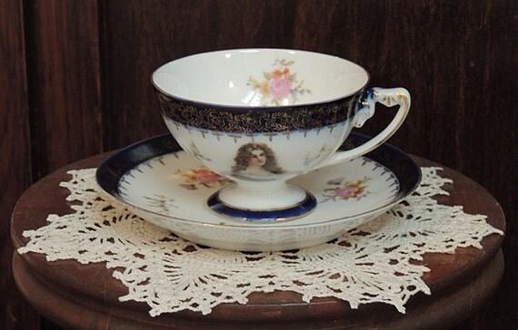 Vintage Footed Porcelain R.C. Bavaria Lady Portrait Cup & Saucer.. Cobalt Blue And Gold Rim