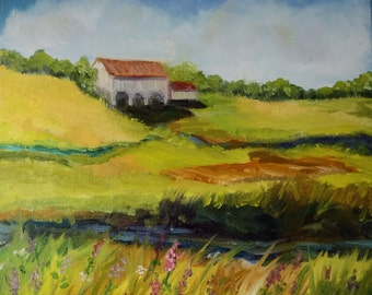 Original Painting Oil landscape barn farm - Home decor wall art - canvas fine art painting