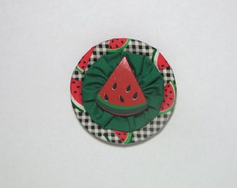 Hand crafted Mason/Ball/Kerr canning lid refrigerator fridge magnet *Watermelon*