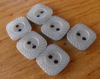 6 Gray Curved Dashed Square Buttons Size 1/2""
