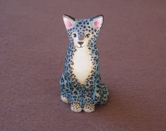 Exotic, Blue, Wild Cat made of porcelain