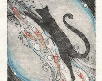 Little Cat with fish etching hand painted limited edition cat etching OOAK