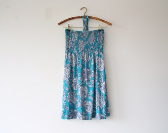 blue and white hippie dress