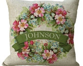 Bright Spring Flowers Family Name Wreath Linen or Burlap in Choice of 14x14 16x16 18x18 20x20 22x22 24x24 26x26 inch Pillow Cover