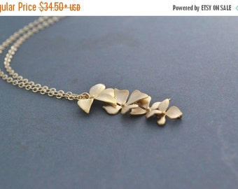 Gold Wild Orchid Necklace, 14K Gold Filled Chain, Cascading Flower Necklace, Gift Under 35