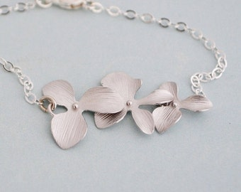 Simple Silver Orchid Bracelet, Sterling Silver Chain, Gift Under 25