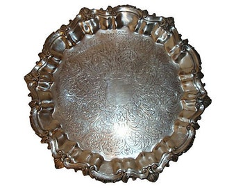 Silverplate Pedestal Tray, Footed Salver, Elegant Design
