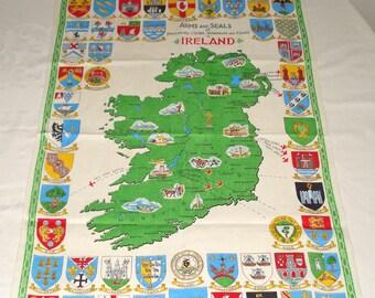 Vintage Irish Linen Towel Arms & Seals of Ireland