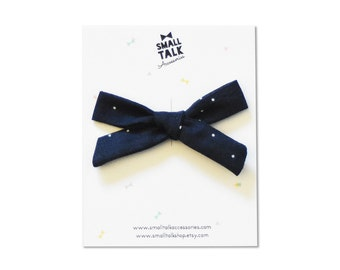 SALE - Blue Baby Bow - Hand Tied Bow - School Girl Bow Clip
