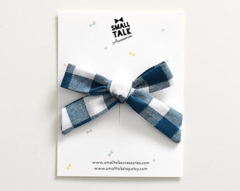 Teal Gingham Bow - Hand Tied Bow - School Girl Bow Alligator Clip - Toddler Bow