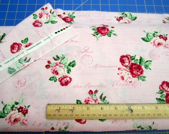 Bouquet Color Story Large Roses Pink Script premium cotton fabric from Quilt Gate Rose Collection qgRU2250-13C