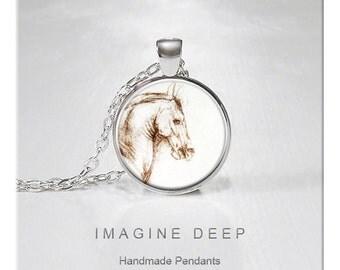 BUY 2 GET 1 FREE Horse Pendant Necklace Fine Art Print High Quality Handmade Silver Copper Pendant - Leonardo da Vinci Horse Drawing (160)