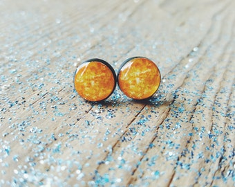 Venus Stud Earrings, Yellow Stud Earrings Post Earrings, Planet Venus Earrings, Solar System Earrings, Space Collection by Bloomyjewelry