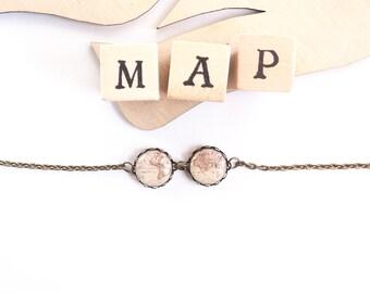Whole Wide World Bracelet- Map Bracelet- Vintage World Map- Antique World Map- Retro Space Jewelry- World Map Bracelet- Map Jewelry