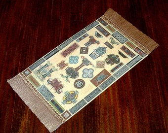 Medieval Designs Rug, Dollhouse Miniature 1/12 Scale, Hand Made in the USA