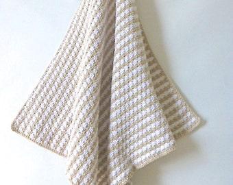 Crochet blanket, cream and caramel crochet throw, crochet afghan, baby photo prop, crochet wrap, warm winter blanket,