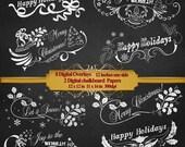 Merry Christmas overlays,  Happy Holidays overlays, greeting cards, holidays cards, Chalkboard Script Overlays, Chalkboard art