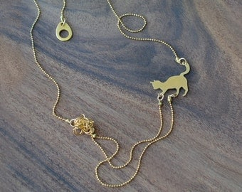 Tiny cat playing necklace, animal lover pendant, Cat lover gift, Animal lover necklace, gold filled dainty necklace, layering necklaces