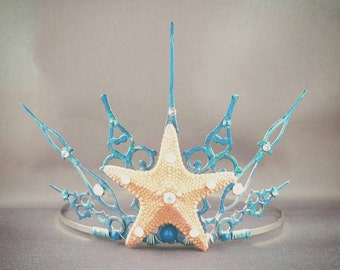 Gothique Ocean - Starfish Tiara Mermaid Crown Mermaid Tiara Little Mermaid Ocean Tiara Blue Crown Blue Tiara Beach Tiara - Ready to Ship