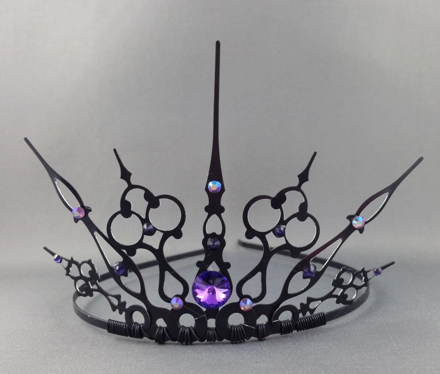 Purple Gothique Black Filigree Gothic Tiara Evil Queen Crown