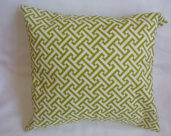 """Lime Green and White Abstract 16 x16"""" Pillow Cover"""