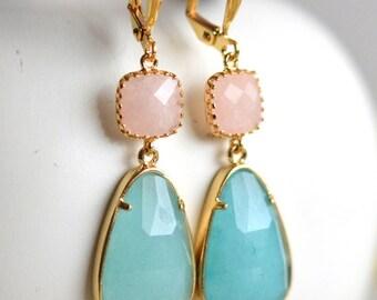 Aqua Blue Jade and Peach Jade Dangle Earrings in Gold. Drop Earrings. Stone Earrings. Jewelry. Gift. Wedding. Dangle.Bridal.