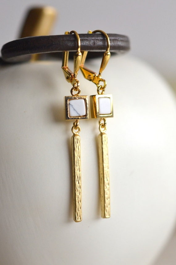 Gold Bar Earrings. White Gold Dangle Earrings.  Geometric Earrings.  Modern Jewelry. Gold Earrings.  Gift for Her.