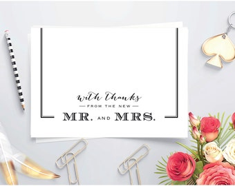 Newlywed thank you ~ Printable Thank you card ~ Folded card ~ Thank you card for Wedding gift ~ Mr and Mrs ~ New Mr and Mrs ~ Thank You note