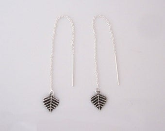 Small Bodhi Bo LEAF LEAVES charms sterling silver thread threader earrings