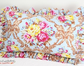 Matilda Rose Floral Ruffled Pillow, Various Sizes Available.